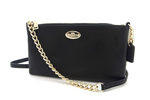 Coach-Pebbled-Leather-Quinn-Crossbodyshoulder-Bag-Chain-Strap-F52709-Black