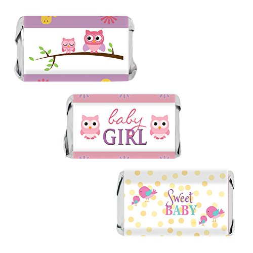 Owl and Tweet Pink Woodland Girl Baby Shower Favors - Mini Candy Bar Wrapper Stickers, 54 Count (Wrappers Baby Shower Candy Miniature)