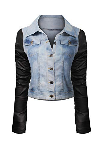 - HOT FROM HOLLYWOOD Women's Button Down Long Sleeve Classic Outerwear Denim Jacket