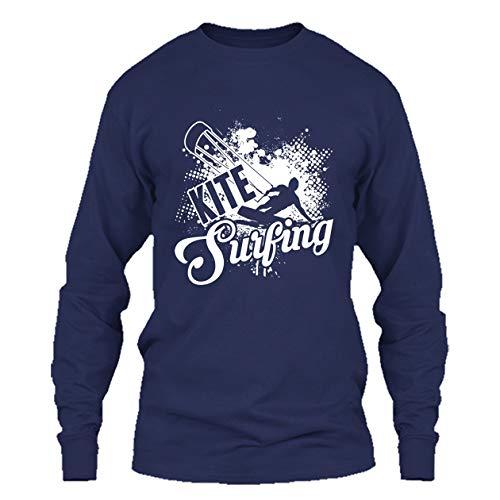Kitesurfing Mens Hoodie - Kite Surfing Tshirt Design - Love Kite Surfing T Shirt Long Sleeve (XL,Navy)