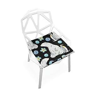 Juego de fundas para cojines de asiento de perro, diseño de oso y pingüino decorativo, para interior y exterior, terciopelo de doble impresión, suave cojín de asiento 16 x 16 cm