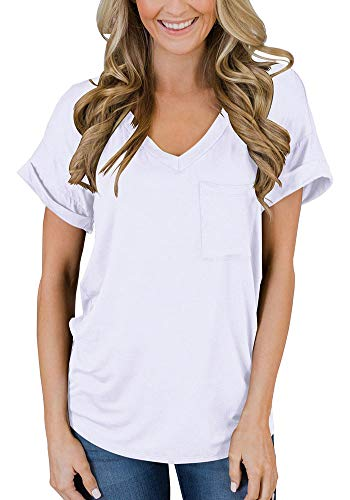 Sleeve V-neck Top Short Solid - FAVALIVE Casual Blouses Short Sleeve Solid Tshirts for Women Summer Cotton Tunic Tops White M