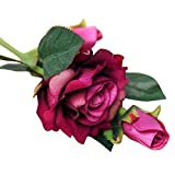 Fake Flowers,Neartime Real Latex Touch Rose Flowers Home Decor Wedding Bouquet (D)