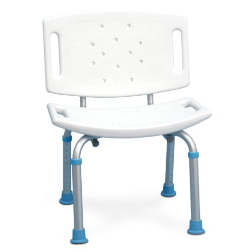 AquaSense Adjustable Bath and Shower Seat with Non-Slip Seat and Backrest, White (Teak Long Model)