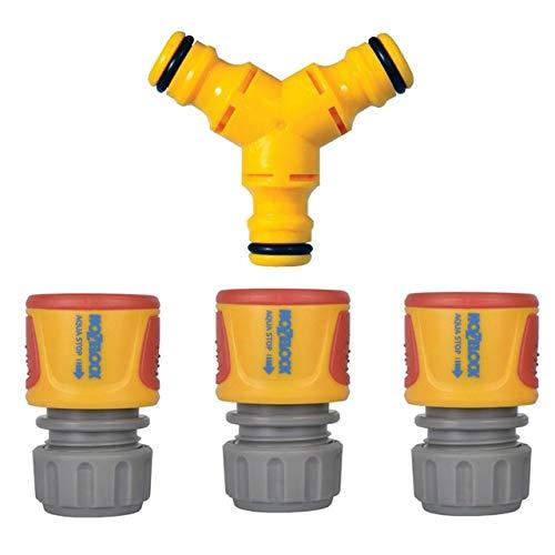 3 x Hozelock AquaStop Waterstop Connector Hose 2185 2075 + 2293 Y Connector