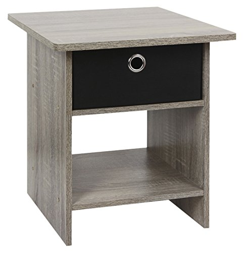 2 Drawer Oak Coffee Table - Furinno 2-10004GYW Home Living Storage Shelf with Bin Drawer, 2-Pack, French Oak Grey/Black