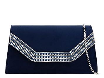 haute pour DIVA 'S NEUF pour femme détail strass faux daim trapèze forme sac à Main Pochette Mariage - Bleu marine, Medium