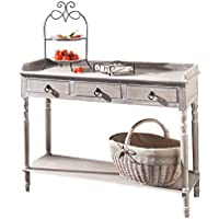 Cottage 3 Drawer Wood Console Table w/ Metal Handles & Bottom Shelf - White Product SKU: HD221577