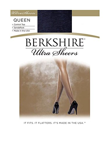 Berkshire Women's Plus-Size Queen Ultra Sheer Control Top Pantyhose - Sandalfoot, Navy, 5X-6X ()