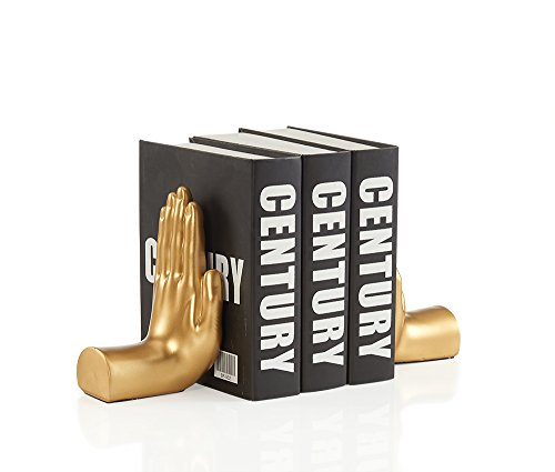 Danya B. NY8003GLD Contemporary Accent Book Shelf Decor - Hands Sculpture Bookend Set by Danya B