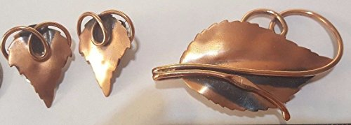 Vintage Signed RENOIR Copper Leaf Brooch or Pin w Clip on Earrings PRETTY