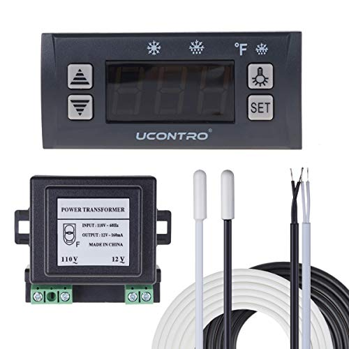 UCONTRO Digital Temperature Controller Electronic Thermostat -40 to 120℉ -45 to 45℃ Switchable with Defrost & Alarm, 2 Sensor Probes for Refrigerators & Freezers Defrosting (Set Version)