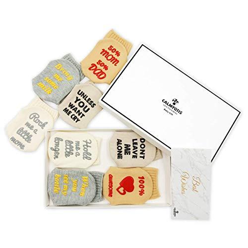 CalMyotis Funny Baby Socks Gift Set for Baby Shower, 0-12 Months Newborn Boys Girls Present, Cute, Anti Slip (4 Pair)