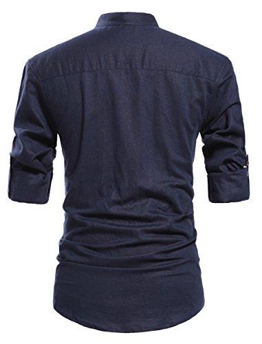 ZYFMAILY Men's Casual Long Sleeve Linen Henley T-Shirt Solid Beach Shirt, Navy Blue, X-Large