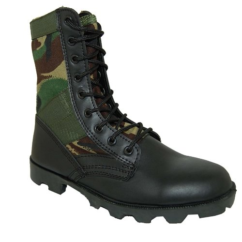 KRAZY SHOE ARTISTS Jungle Boot 8 inch Leather Black Camouflage Tactical Men's Combat Size 10