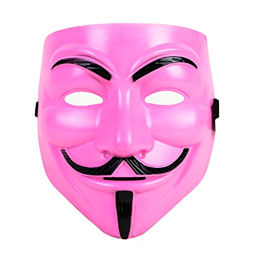 Guy Fawkes Mask Halloween Costume V for Vendetta (Pink) -
