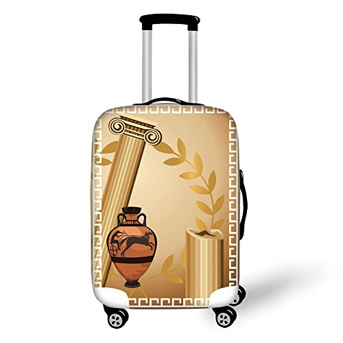 - Travel Luggage Cover Suitcase Protector,Toga Party,Antique Greek Columns Vase Olive Branch Hellenic Heritage Icons,Light Brown Cinnamon White,for Travel