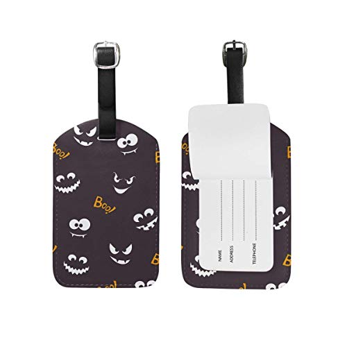 ABLnewitemFrameFF Happy Halloween Boo Luggage Tag Set of 2 Cruise Ship Women Men Kid Suitcase Label Travel ID Handbag Tag with Buckle Leather]()