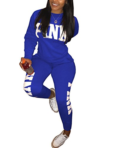 Akmipoem Women Letters Print Sweatsuit Long Sleeve Hoodies and Jogger Pants Tracksuit For Young Blue XXL (Hooded Long Sleeve Letter)