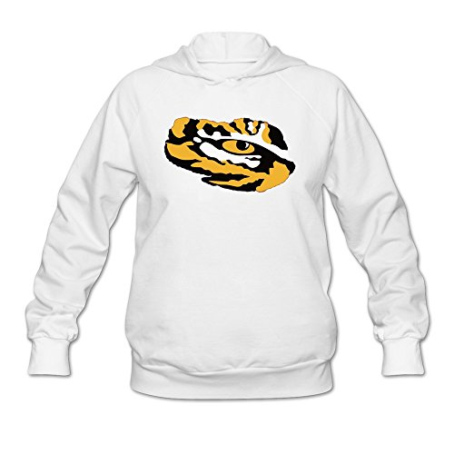 - Womens Tiger Eye Cut Hoodie White 100% Cotton