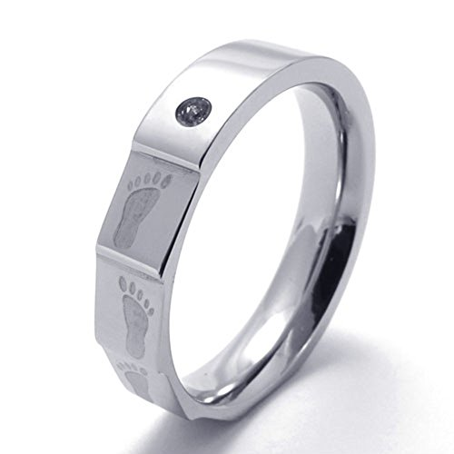 TEMEGO Jewelry Mens Womens Stainless Steel Footprint Promise Ring Couples Wedding Bands ()