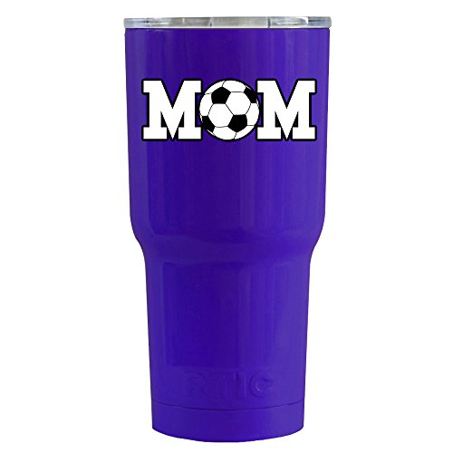 RTIC Soccer Mom on Purple Gloss 20 oz Stainless Steel Tumble