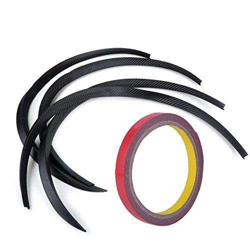beler 4pcs Universal Car Truck Carbon Fiber Rubber Wheel Eyebrow Protector Lip Sticker Trim Fender Flare Anti-scratch