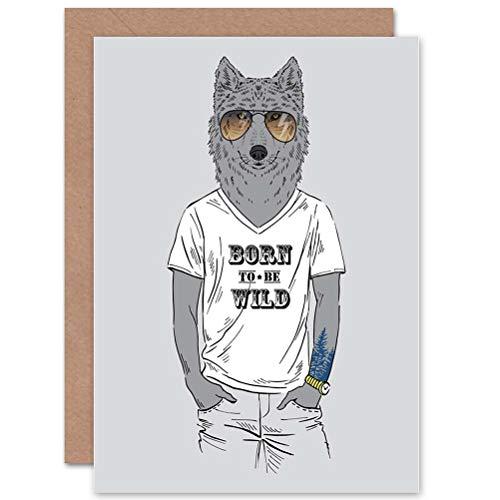 Wee Blue Coo Fashion Animal Wolf Dressed UP Blank Greetings Birthday Card Art