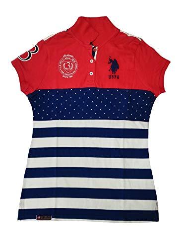 U.S. Polo Assn. Junior's Neon Logos Short Sleeve Polo Shirt, Red/Blue Print, ()