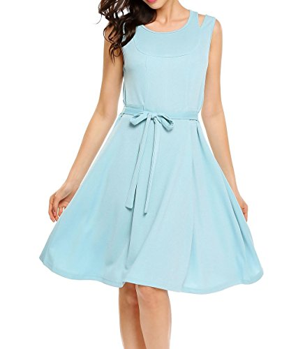 Silk Pleated Dress (ANGVNS Women's Summer Sleeveless A-line Pleated Hollow Party Cocktail Dress With Belt)