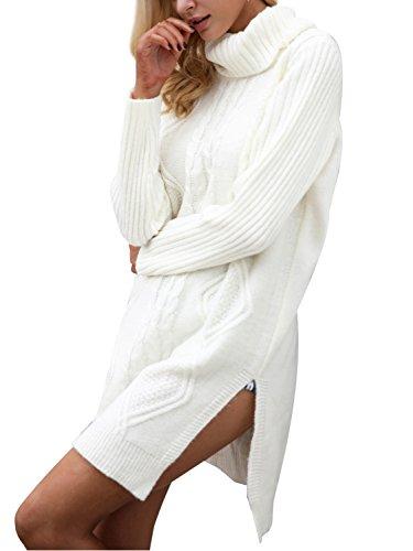 Glamaker Women's Pullover Turtleneck Long Sleeves Knit Dress Loose Short Knitted Sweater Dress With Splits (Split Neck Sweater Dress)