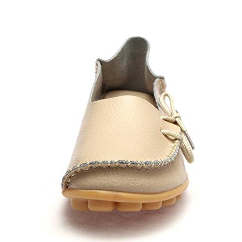 Wqinshoe Mocassins En Cuir Pour Femmes Enfiler Des Mocassins Chaussures De Conduite Décontractées Avec Semelle En Mousse Mémoire Beige-lacet