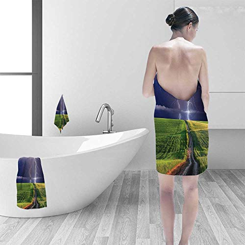 Printsonne 100% Cotton Super Absorbent Decor Summer Storm About to Appear with Flash on The Field Solar Illumination Multipurpose Quick Drying by Printsonne