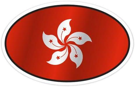 Vinyl Sticker Waterproof Decal Hong Kong Flag Oval