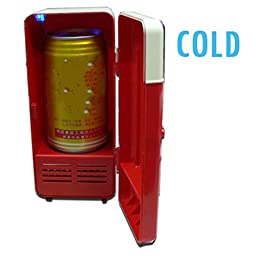 Mini PC USB Fridge, HQF® Portable USB Beverage Drink Cans Fridge USB Powered Cooler & Warmer Car Refrigerator for Cold / Hot Beverage Drinks (Red)
