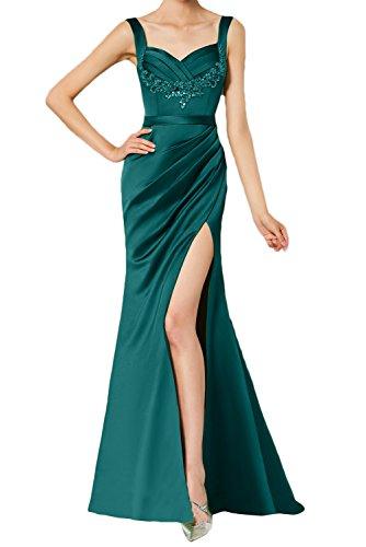 Ivydressing Abendkleid Traeger Spitze Rueckenfrei Satin Damen Ballkleid Strass Partykleid Aermellos Elegant Schlitz Blaugruen Falte raw0gnr