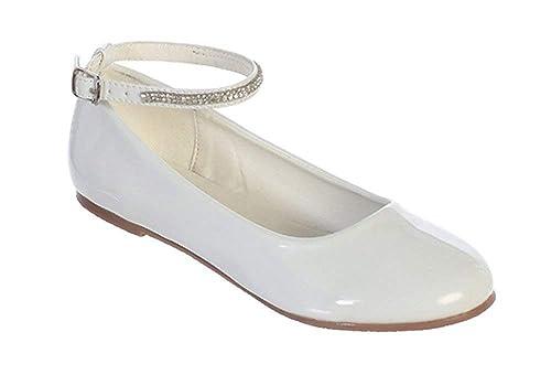 2c31472342ff7 iGirldress Girls Patent Rhinestone Ankle Strap Flats Dress Shoes Size 9-  Size 5 Youth