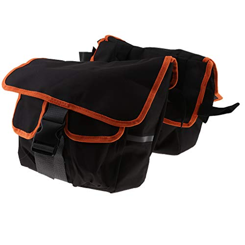Baosity Detachable Canvas Motorcycle Saddle Bags Rider Bicycle Luggage Decoration Black Orange