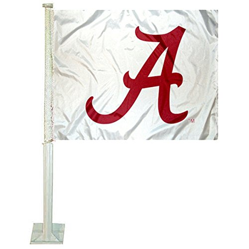 (College Flags and Banners Co. Alabama Crimson Tide White Car Flag)