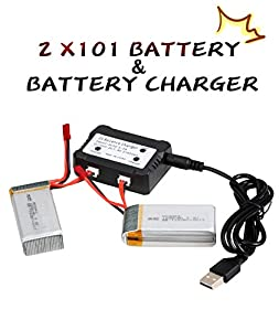 YSHESS 2pcs 7.4v 1200mah official battery To Increase The Flying Time With 2 IN 1 Battery Charger for MJX X101 RC Quadcopter Drone Spare Parts