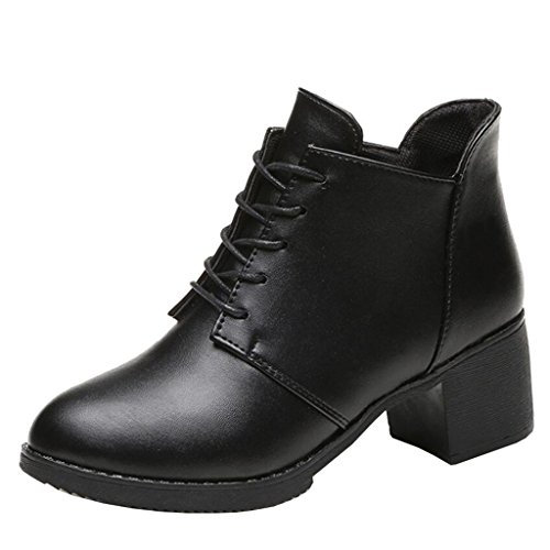 Binying Women's British Style Round-Toe Block Heel Lace-up Ankle Boots Black