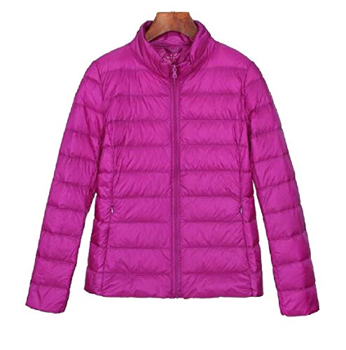security Womens Lightweight Solid Stand Collar Long Sleeve Down Jacket 4