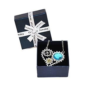 Little World DIY Removable Gear Steampunk Fashion Heart-shaped Pendant Necklace (Blue)
