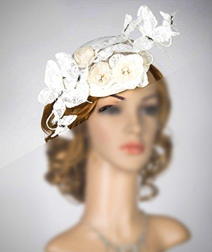 Sinamay Fascinator Headpiece, Wedding Veil, Derby Headpiece, Steeplechase Hat Conservatory Luncheon Hat Tea Party Hat, Derby Hat by bride N wedding