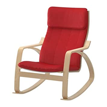 Ikea Poang Rocking Chair Birch Veneer with Red Cushion
