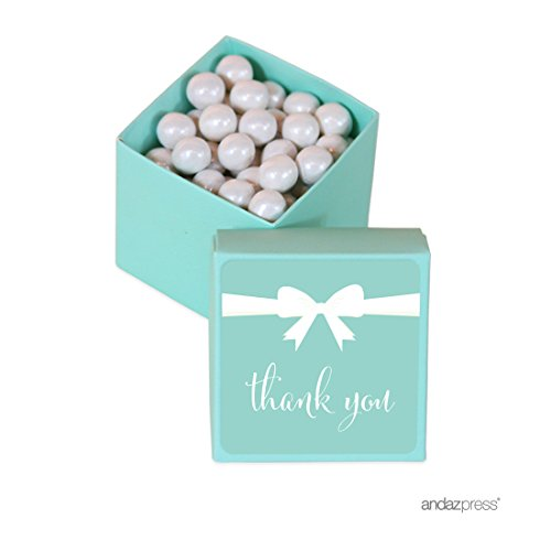 Andaz Press Mini Square Party Favor Box DIY Kit, Thank You with Bow, Diamond Blue, 20-Pack, For Birthday, Wedding Party Favors, Decorations