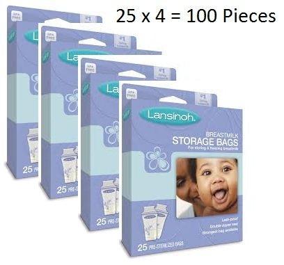 Lansinoh Breast Milk Storage Bags 25 Pieces (Pack of 4)