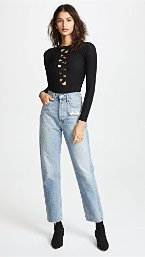 For Love & Lemons Women's Simone Laced Bodysuit, Black, Small by For Love & Lemons (Image #5)