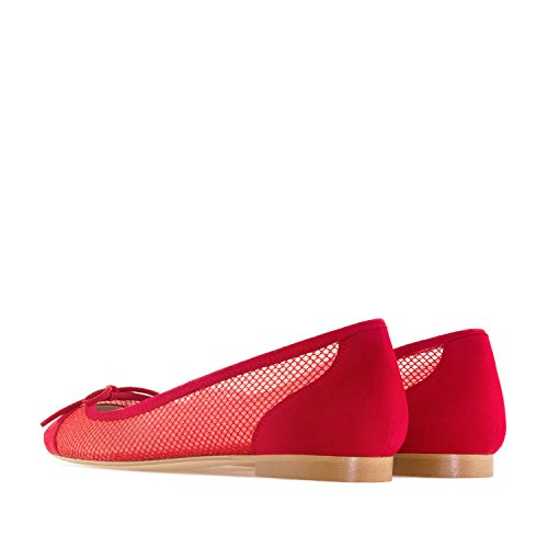 amp; Andres Leather Mesh in Suede Flats Suede Large Machado Spain Mesh Sizes Celia Ballet Made Red amp; rIqCwRr