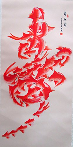 oll Wall Art Kakejiku Wall hanging Fabric Poster Oriental (Goldfish) (Chinese Art Wall Scroll Painting)